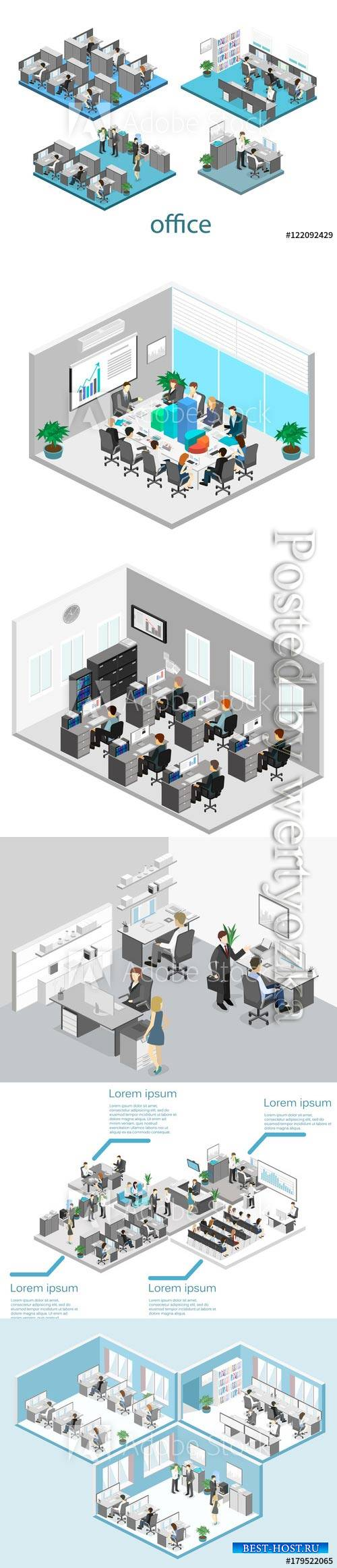 Flat 3d isometric abstract office floor interior