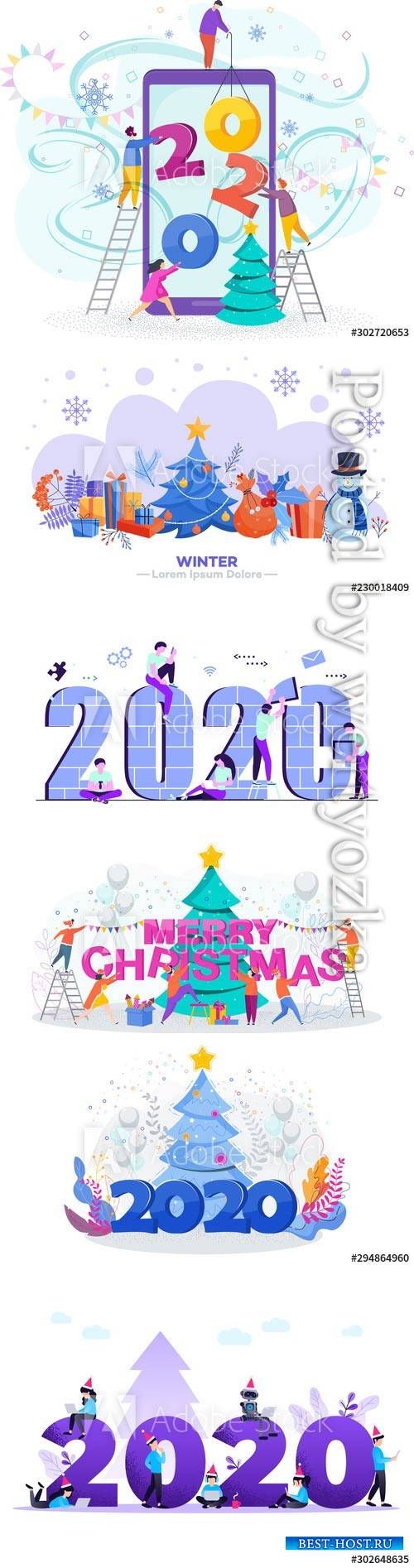 Flat design New Year vector concept