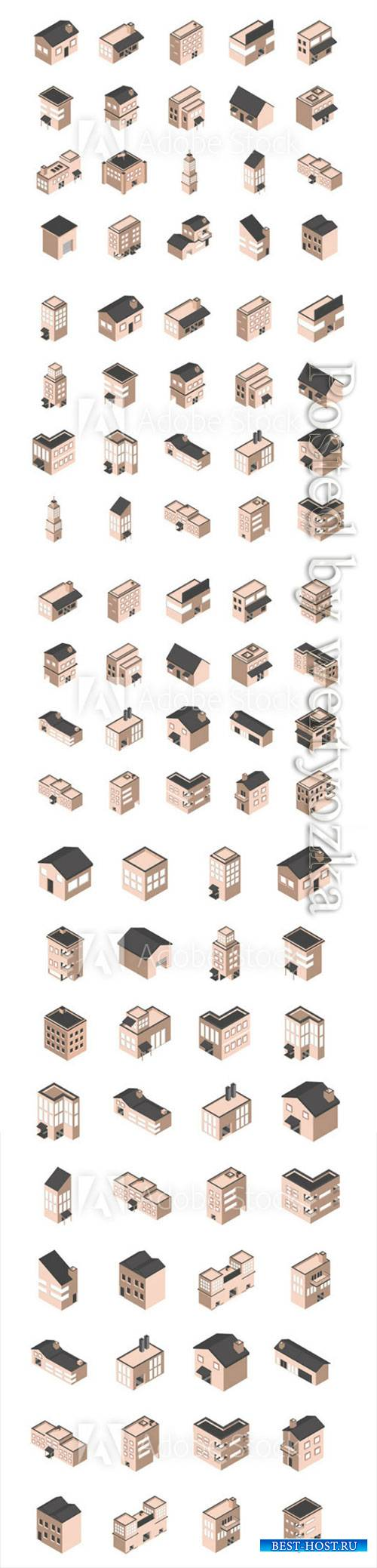 Building isometric style icons vector set