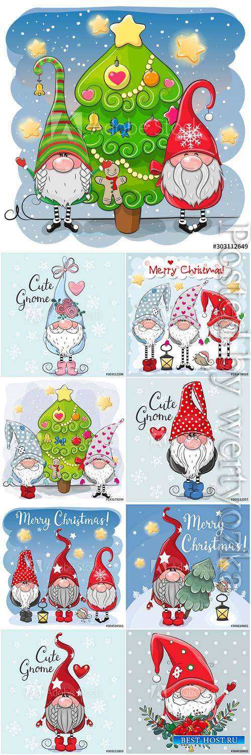 Cartoon gnomes on winter background
