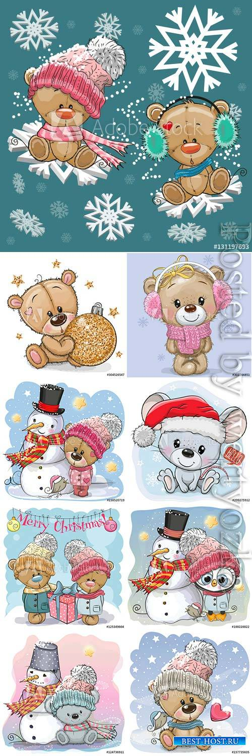 Cartoon animals on winter background