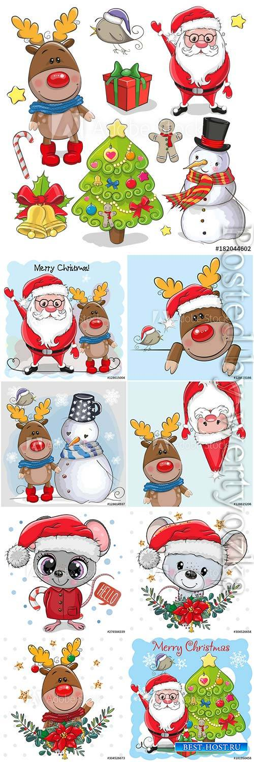 Cartoon santa claus deer and snowman