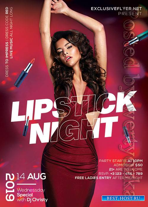 Lipstick night party - Premium flyer psd template