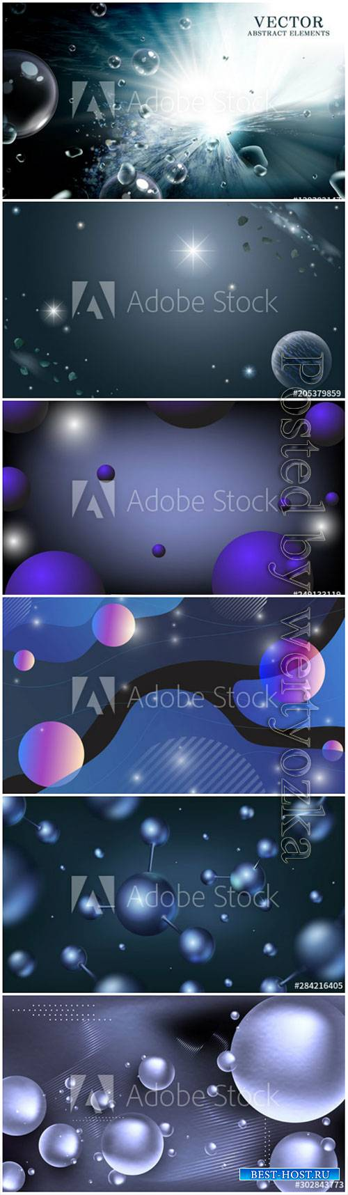 3D Abstract bubbles or geometric balls on vector background