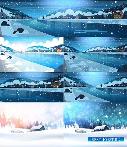 Зимние пейзажи в векторе / Winter landscapes in vector