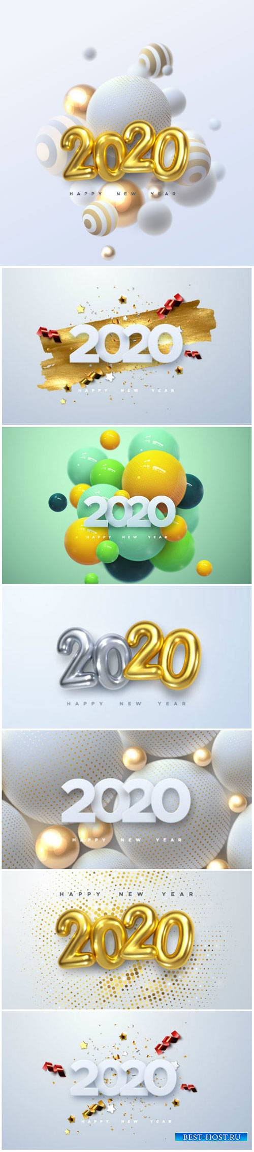 Happy New 2020 Year, holiday vector illustration of numbers 2020 # 3
