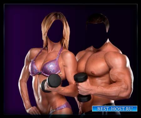Двойной фотошаблон - Со спортом по жизни
