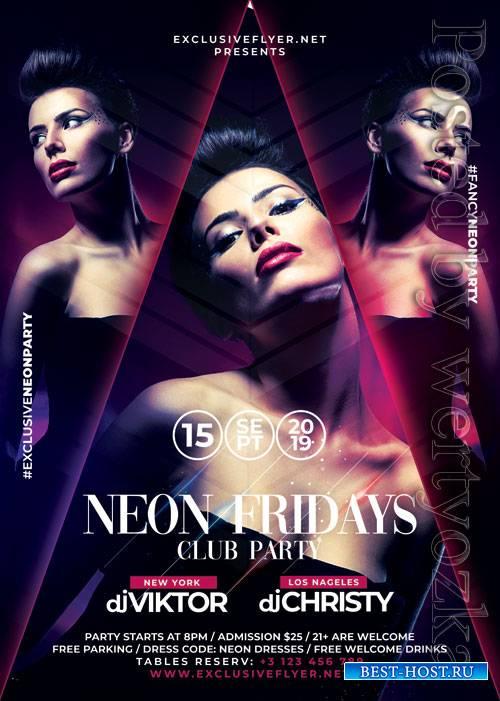 Neon fridays - Premium flyer psd template