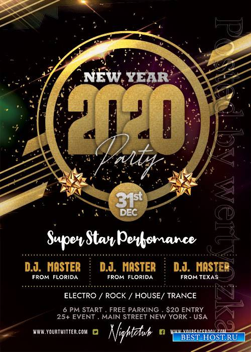 2020 New Year Party - Premium flyer psd template