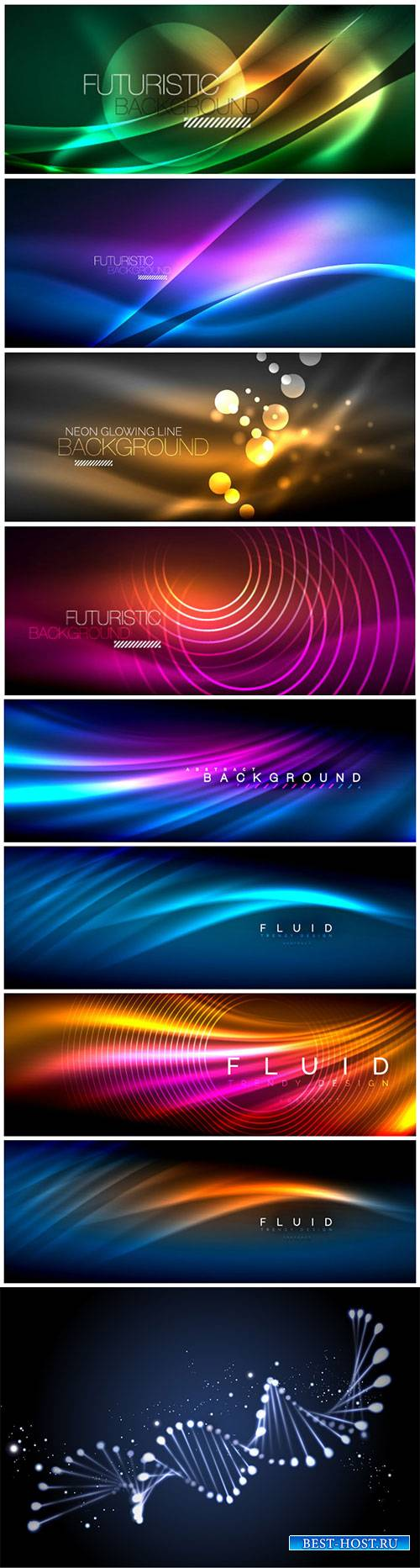 Glowing waves vector background