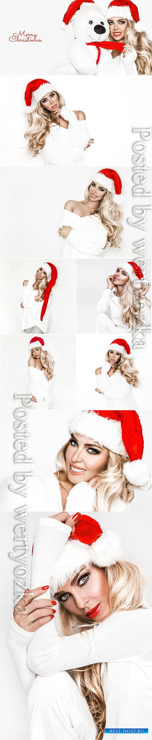 Beautiful female model wear santa hat