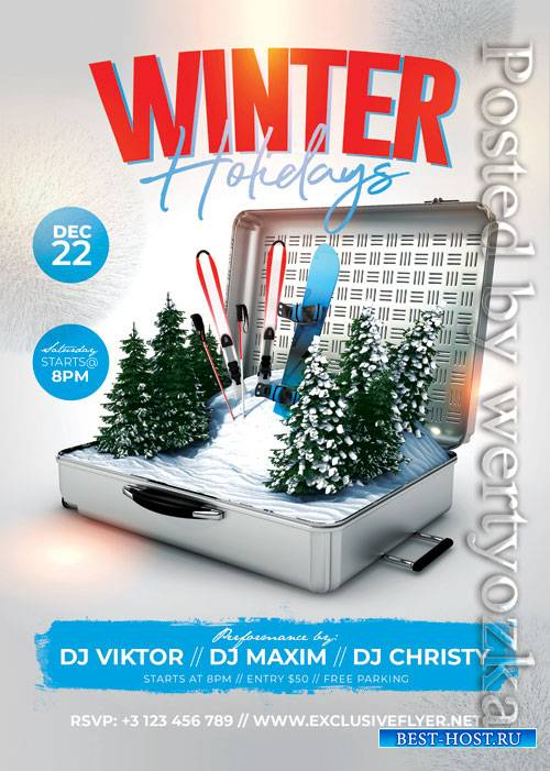 Winter holidays - Premium flyer psd template