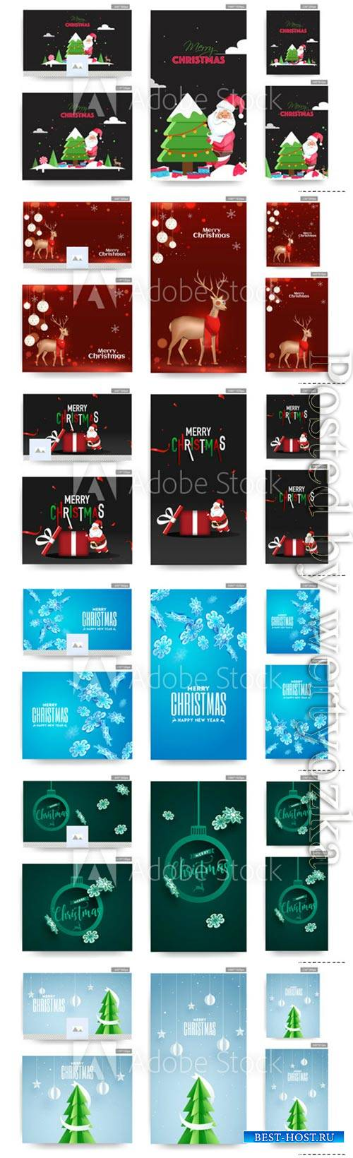 Social Media Christmas poster and template vector design