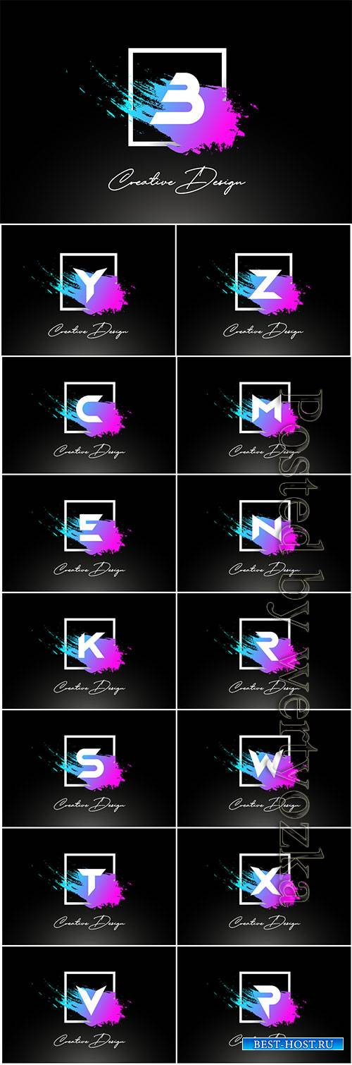 Artistic brush letter logo design in purple blue colors vector