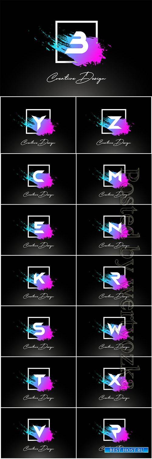 Artistic brush letter logo design in purple blue colors vector
