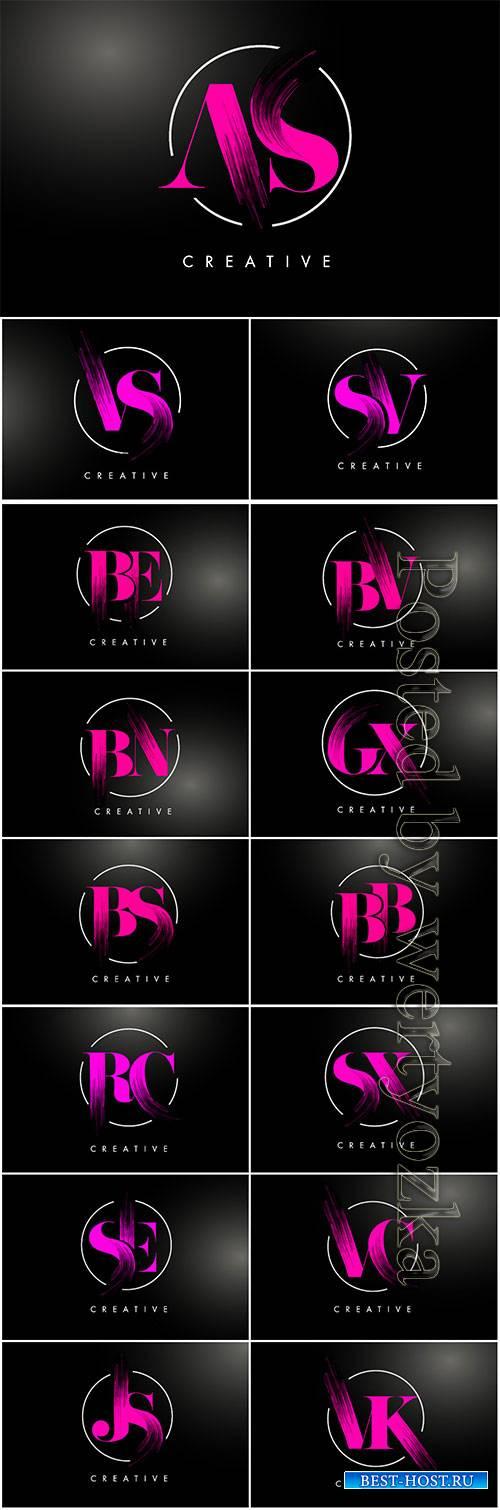 Pink brush stroke letter logo design