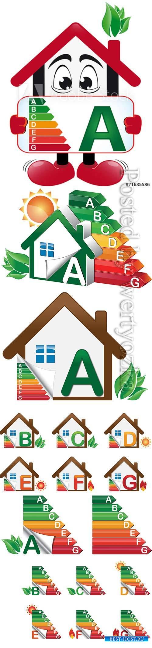 House energy classes vector set