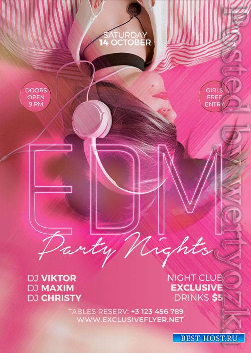 EDM party nights - Premium flyer psd template