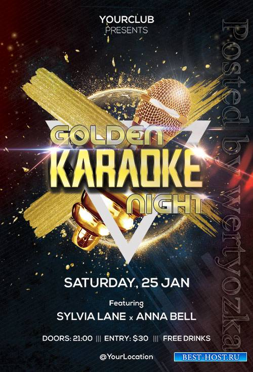 Golden Karaoke Night - Premium flyer psd template