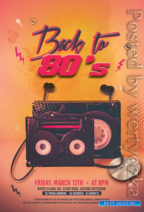 Back to 80 s Party - Premium flyer psd template