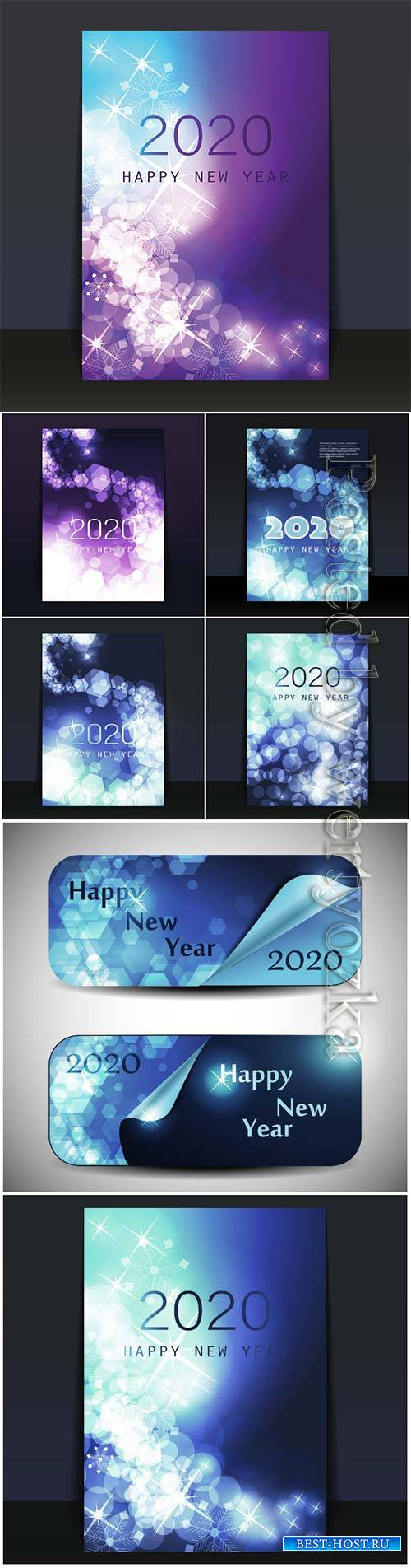 New Year Card 2020, flyer or cover vector design