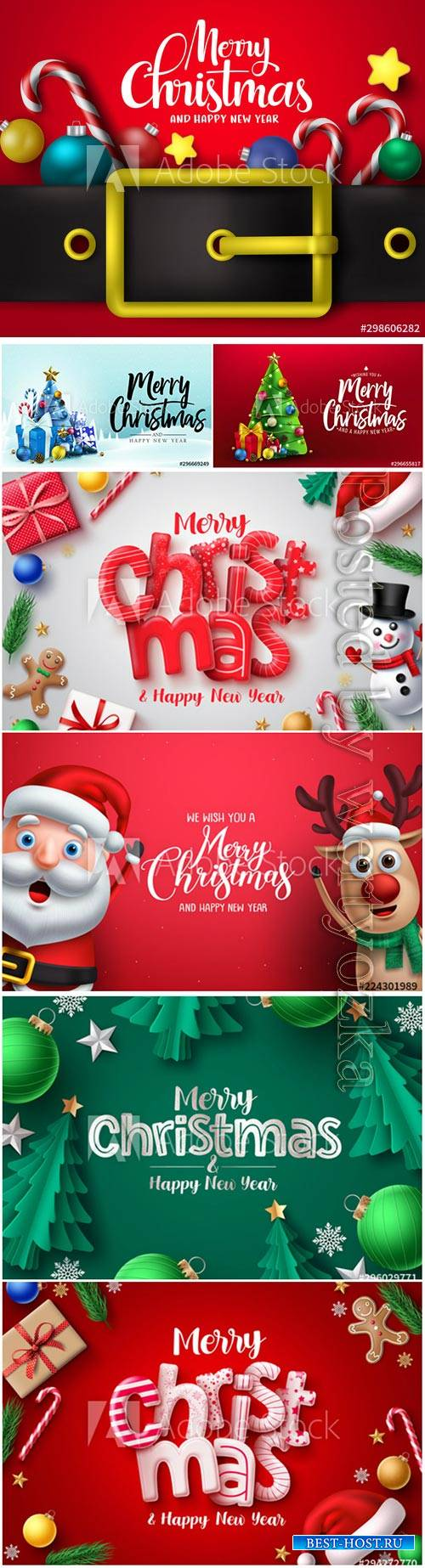 Merry christmas 3d realistic typography in red empty space for text