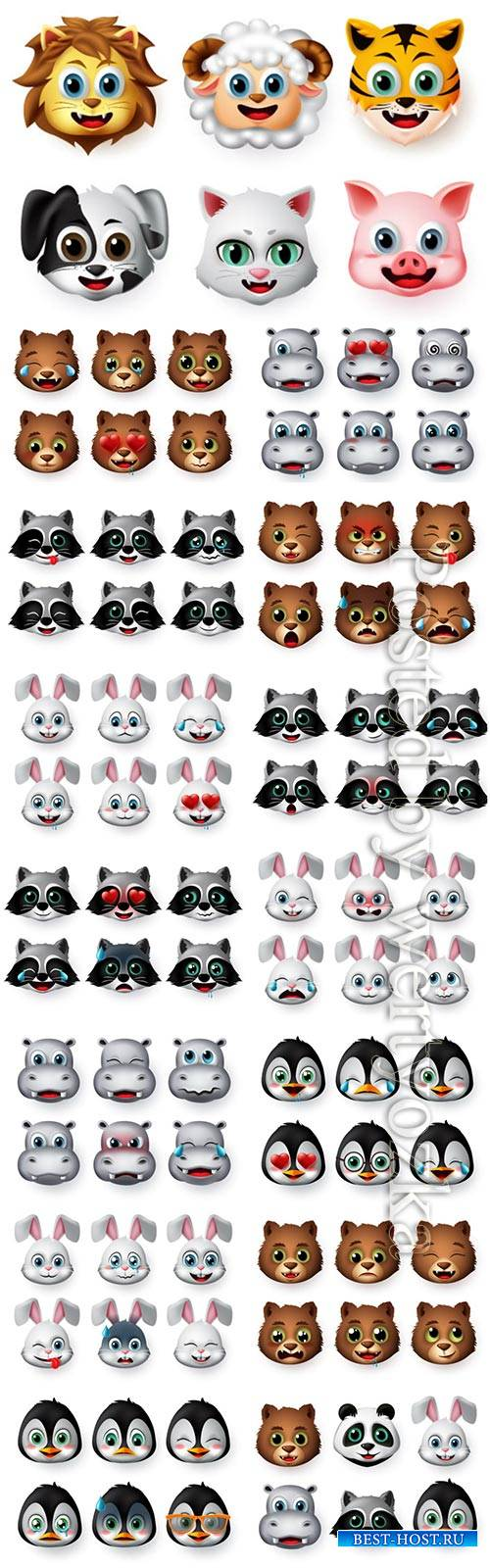 Animals emoji and emoticon happy face vector set