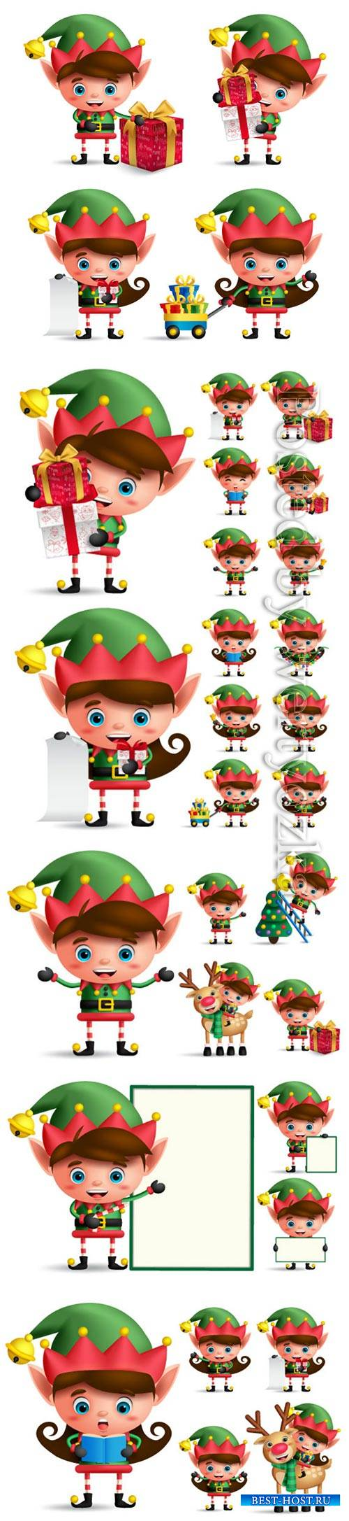 Christmas elf vector character set
