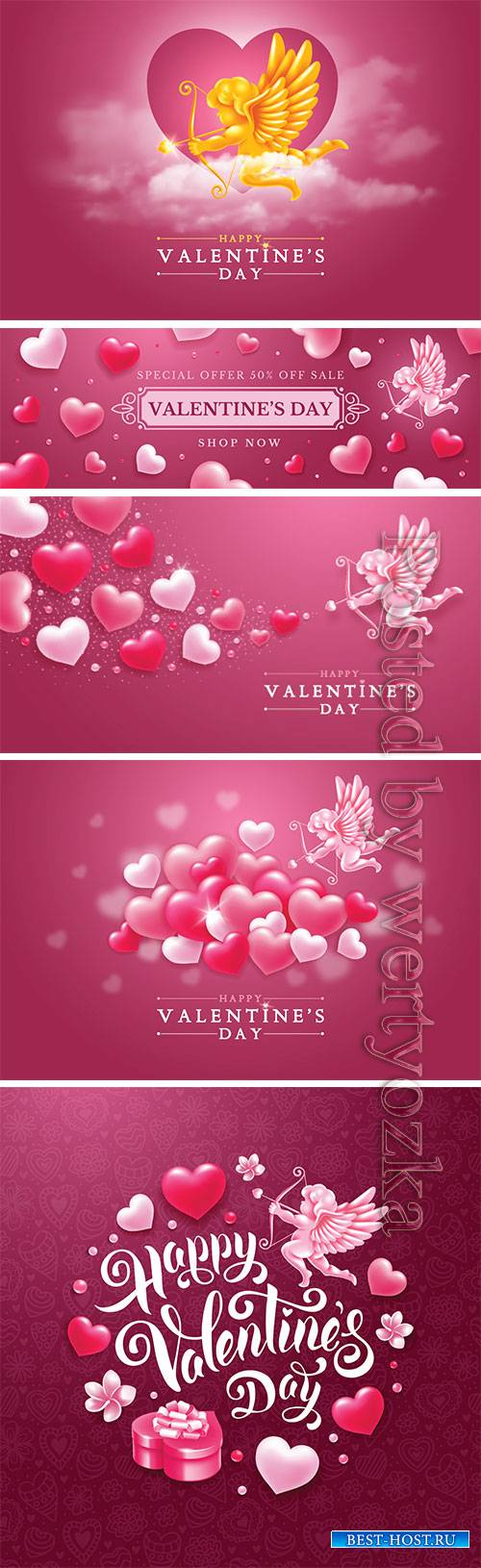 Valentines day vector card with cupid