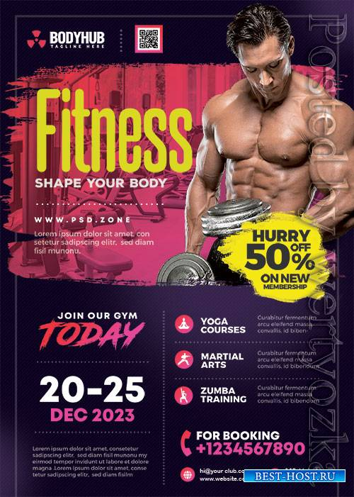 Gym Fitness Center - Premium flyer psd template