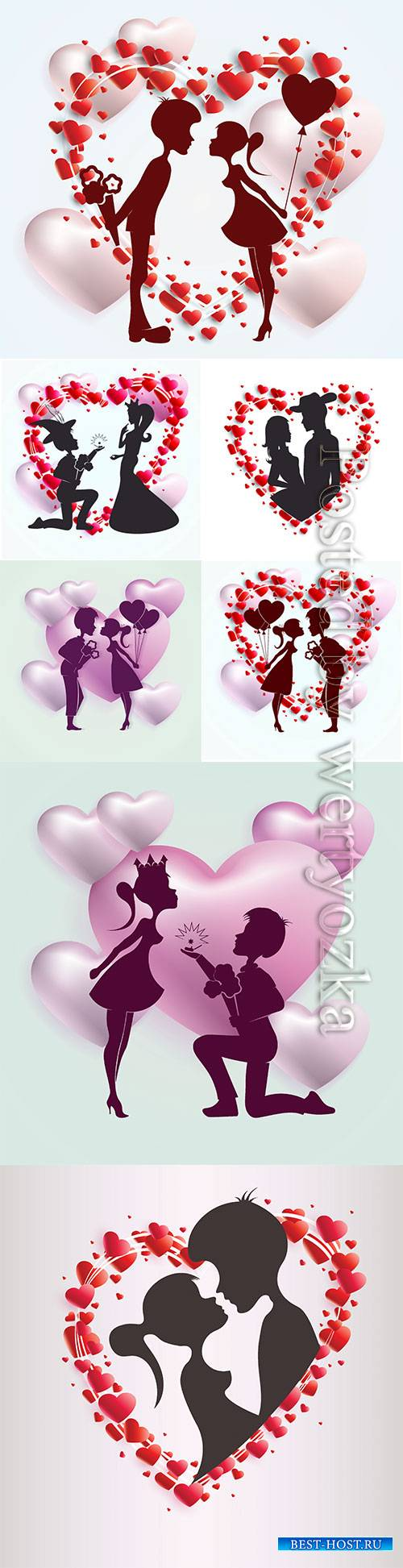 Happy Valentine's Day, vector hearts of couples in love