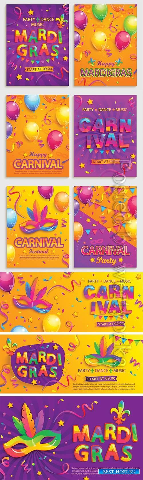 Mardi gras carnival poster, Venice carnival vector design # 3