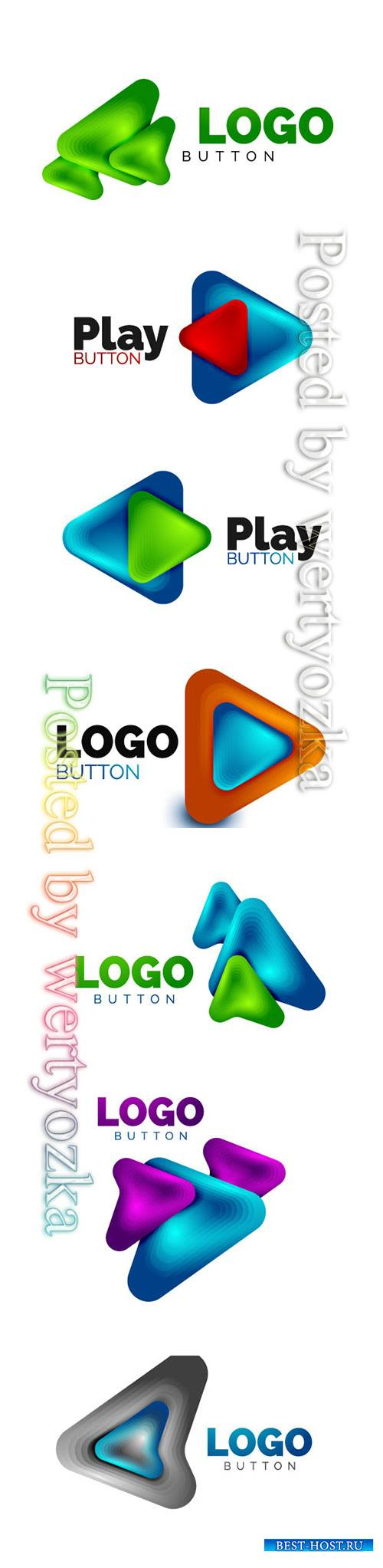 Arrow logo template, play or download button logotype template