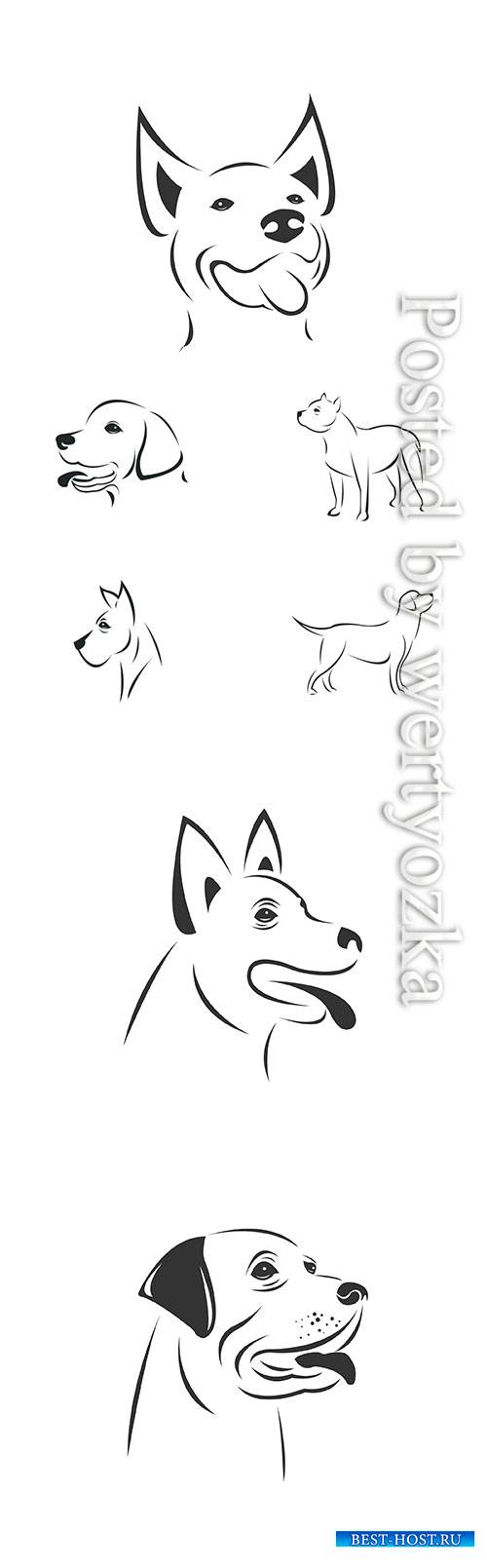 Vector image of an Dog black and white, animal logo