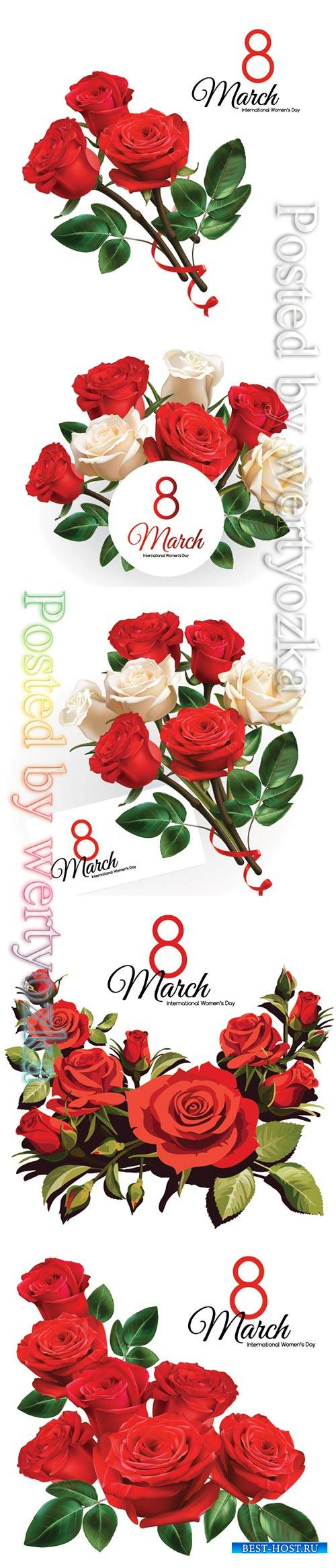 8 March Women's Day greeting card template with red roses
