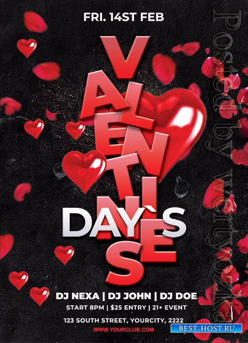Valentines Event - Premium flyer psd template