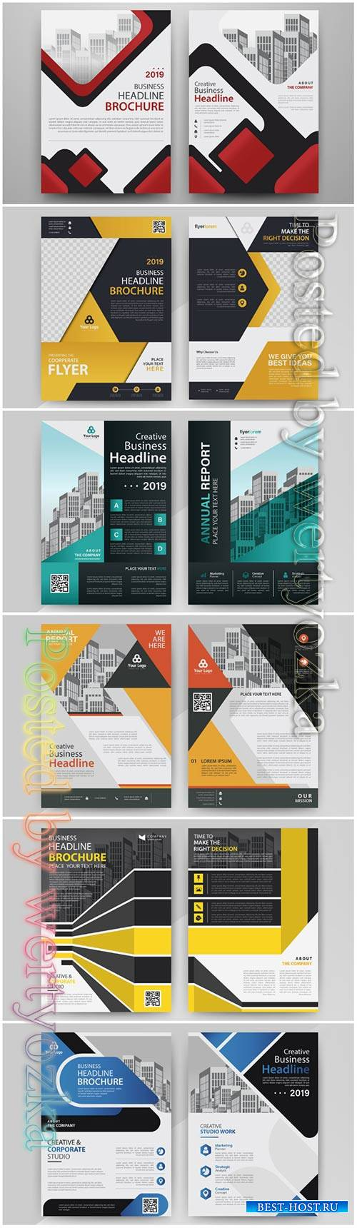Business abstract vector template for brochure