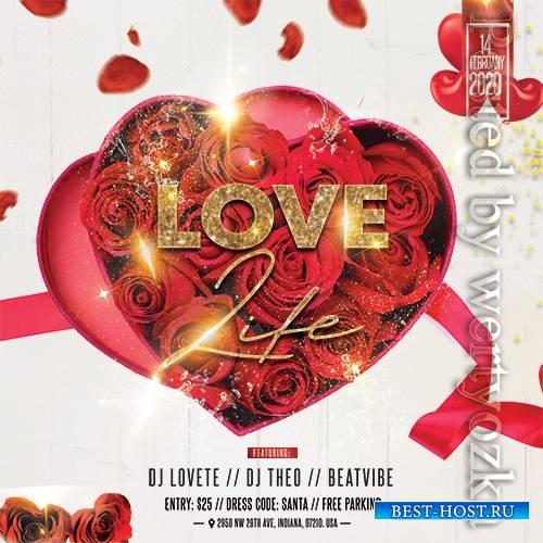 Realistic Valentine's - Premium flyer psd template