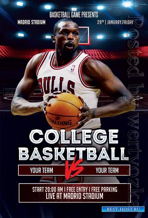 College Basketball - Premium flyer psd template