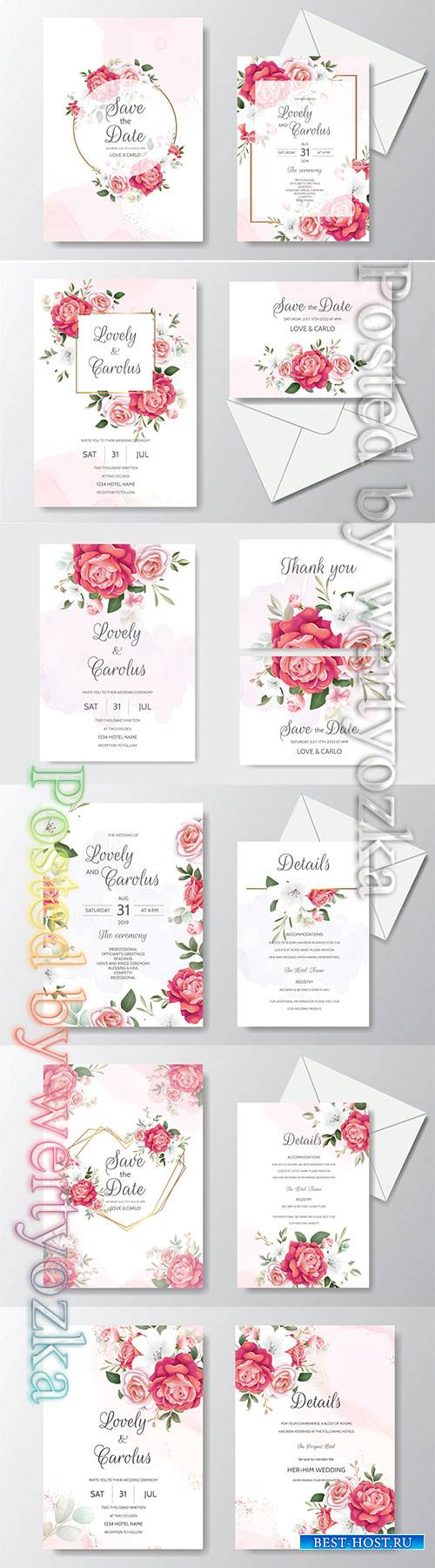 Beautiful floral, wreath, wedding, invitation, card, template