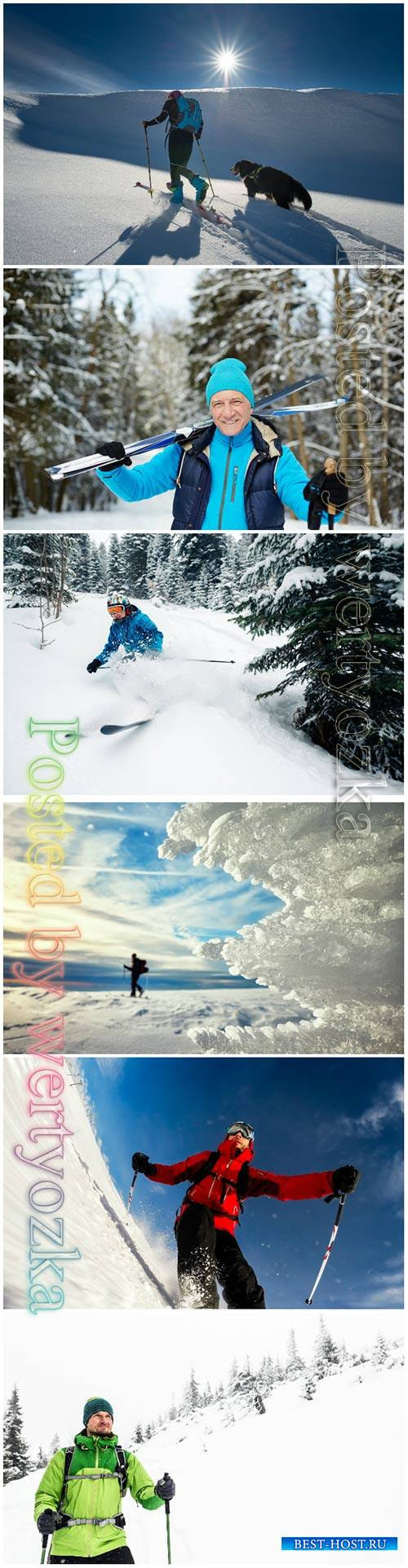 Winter ski vacation beautiful stock photo