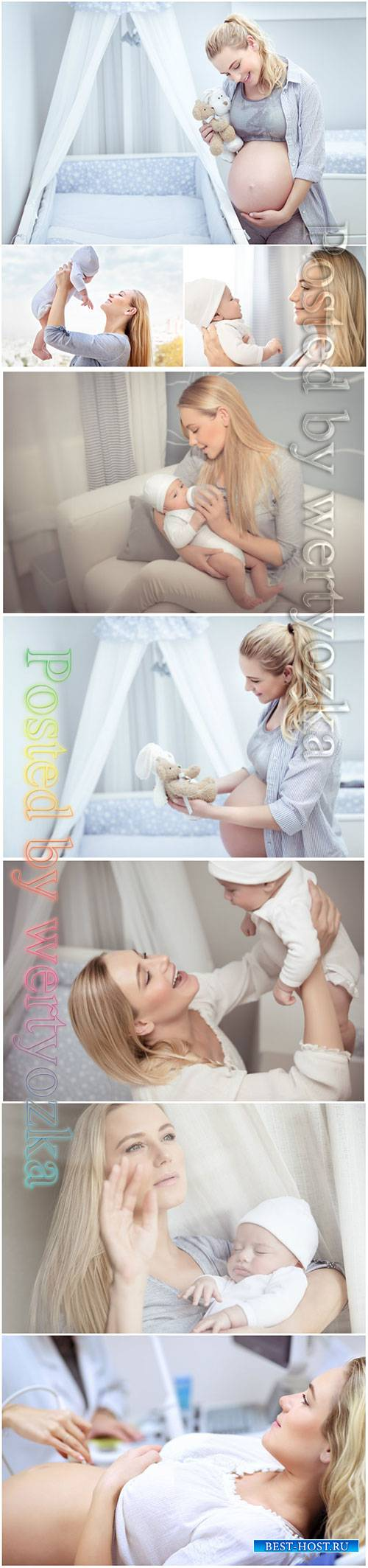 Happy mother with baby beautiful stock photo