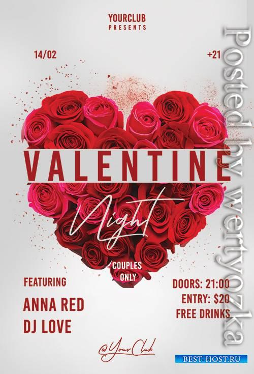 Valentine Night - Premium flyer psd template