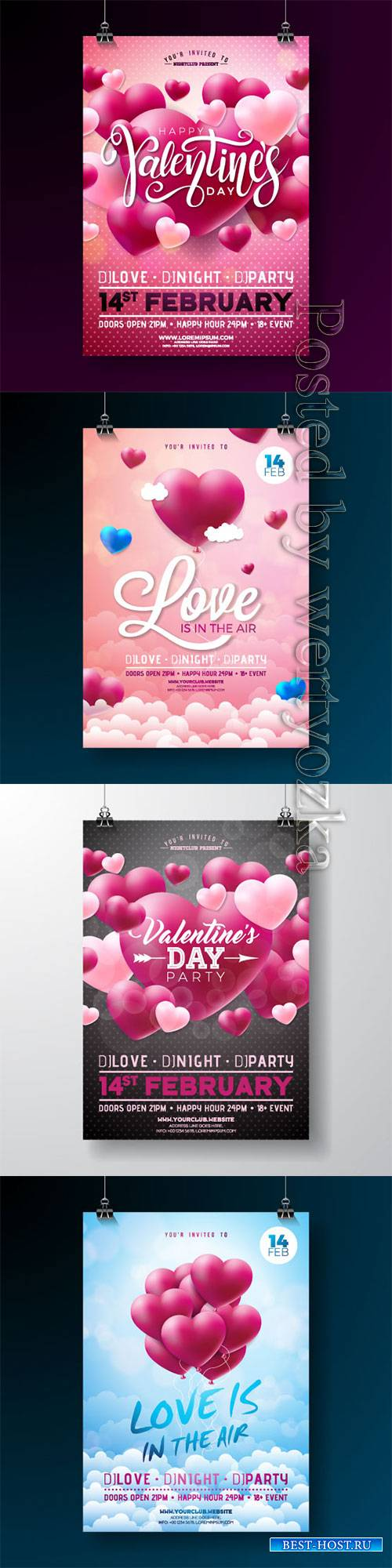 Vector Valentines day party flyer design with love