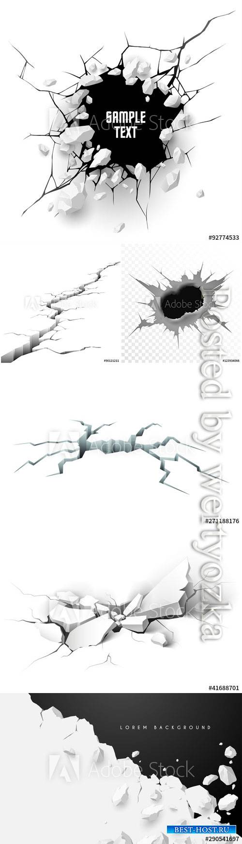 Cracked ground vector illustration isolated on white background