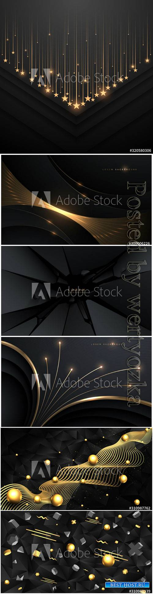 Golden black 3D primitives realistic geometric vector illustration