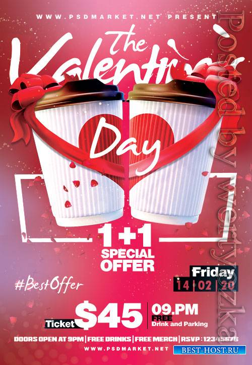 The valentines day party - Premium flyer psd template