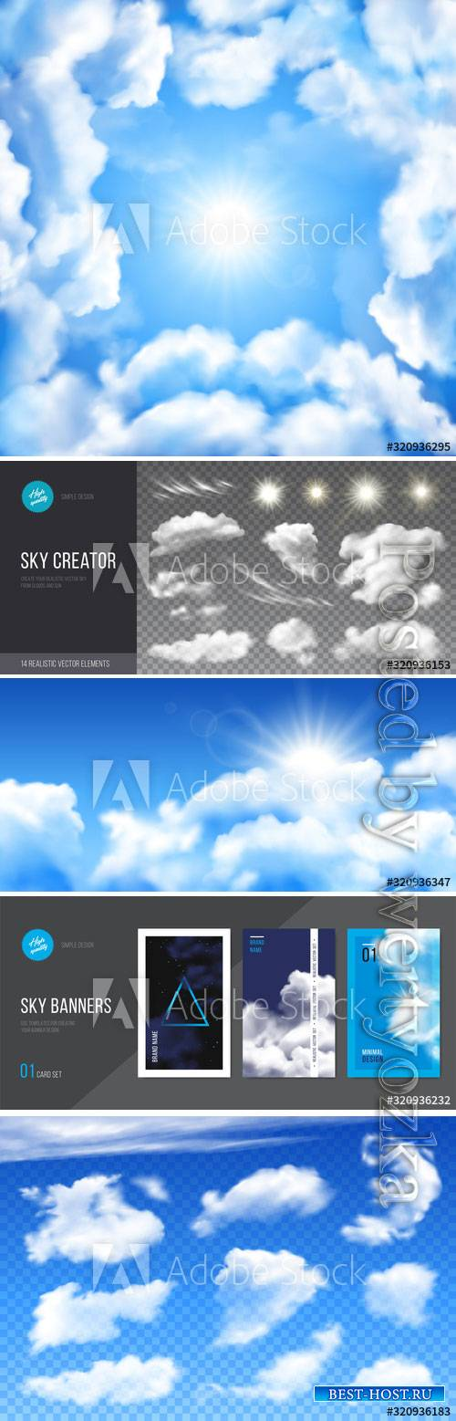 Realistic clouds on blue transparent background vector design
