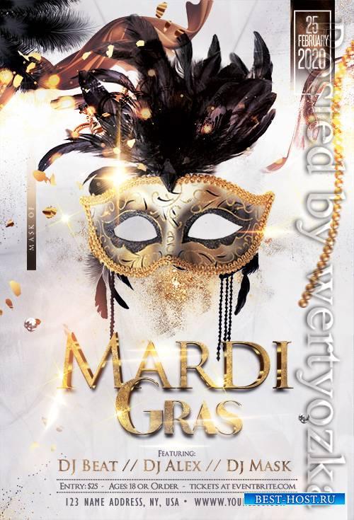 Mardi Gras - Free PSD Template - Premium flyer psd template