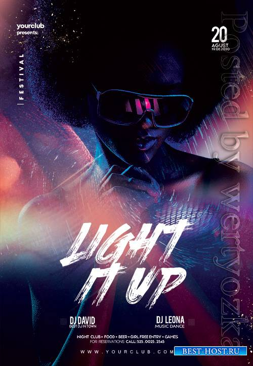 Light It Up Party - Premium flyer psd template
